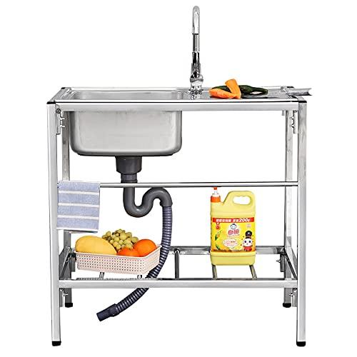 WYJJ Fregadero Comercial de Acero Inoxidable 304, Fregadero de Cocina de un Solo tazón con Grifo, para Sala de lavandería de Garaje Interior al Aire Libre