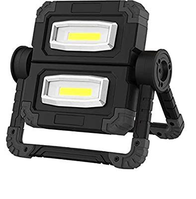 Ascendas LED Work Light USB Rechargeable Folding Portable Waterproof, Flood Light Stand Working Lights for Outdoor Camping Hiking Emergency Car Repairing and Job Site Lighting, 360°Rotation