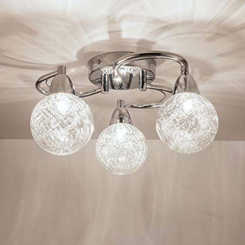 AUROLITE AL1034 BOLLA 3xG9 LED Semi Flush Ceiling Light, Polished Chrome Finish, 12W, Ideal for Living Room, Bedroom, Kitchen, and Hallway, Swirl, Natural White 4000K