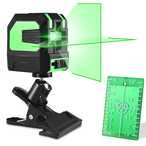 Kreuzlinienlaser Grün, 15m Linienlaser Selbstnivellierender Laser Level mit Pulsfunktion, Wasserwaage Grüner Laser High Visibility Tech, mit Drehhalterung, Schutztasche, Laserzieltafel