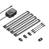 ledscom.de Juego de 4 LED lámpara bajo mueble SIRIS negro mate con detector de movimiento, plano, cada 30cm, 250lm, blanca cálida