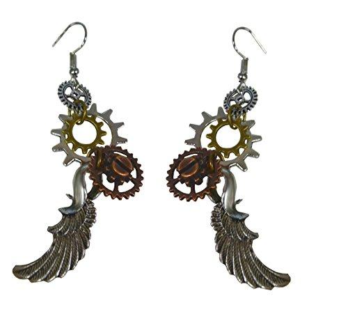 Steampunk Ohrringe mit Zahnrädern und Flügeln