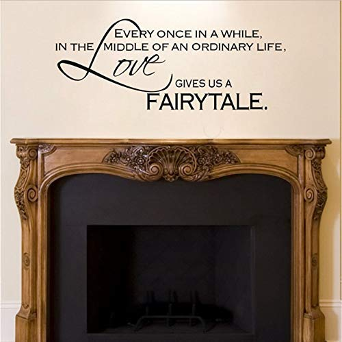 Pegatinas De Pared El Amor Nos Da Un Cuento De Hadas - Decoración De Dormitorio Pvc Art Fireplace Wall Decal Quotes 89X35Cm