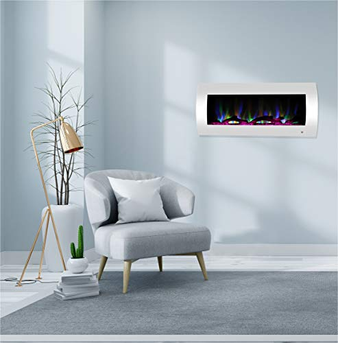 CAMBRIDGE 42-in. Curved Wall-Mount Heater in White with Multi-Color LED Flames, Driftwood Logs, and Remote Control, CAM42CWMEF-2WHT Electric Fireplace