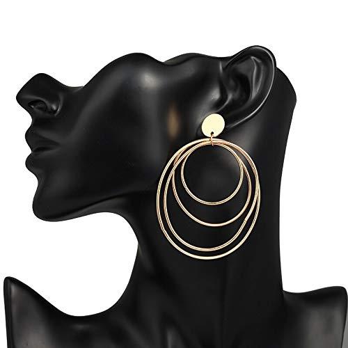 Burenqi Oorbel Sieraden Eenvoudige Persoonlijkheid Pop Zilveren Oorbellen Voor Vrouwen Dubbele Laag Grote Cirkel Oorbellen Lange Oorbel