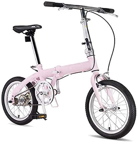 HUAQINEI Bicicletas Plegables para Hombres y Mujeres Adultos Bicicletas portátiles ultraligeras viajeros manubrios y Asientos Ajustables Marco de Aluminio de una Sola Velocidad de 16 Pulgadas, Rosa