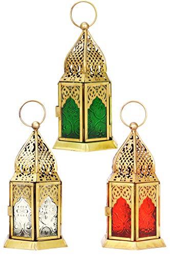 Orientalische Laternen 3 Set Laterne Angham bunt 15cm | 3x Orientalisches Windlicht aus Metall & Glas in 3 Farben | Marokkanische Glaslaterne für draußen als Gartenlaterne in Rot - Klar - Grün