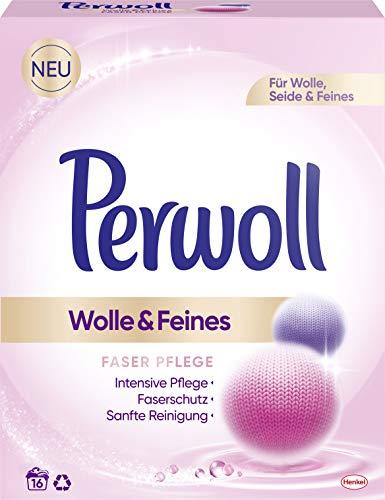 Perwoll Wolle & Feines, Faser Pflege Pulver, 16 (1x 16) Waschladungen, für Wolle, Seide und Feines