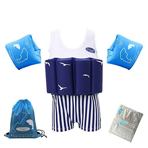 LK-HOME Schwimmanzug Für Jungen, Schwimmanzug Mit Verstellbarem Auftrieb, Schwimmtrainingskostüm Mit Armbändern, Badeanzug Für Kleinkinder,G,110