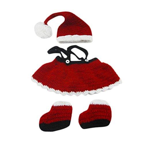 chendongdong Props Photographie Costumes Tenues Crochet Tricot Chapeaux Bouchons Accessoires pour enfant mignon bébé tricoté à la main tissé de Noël