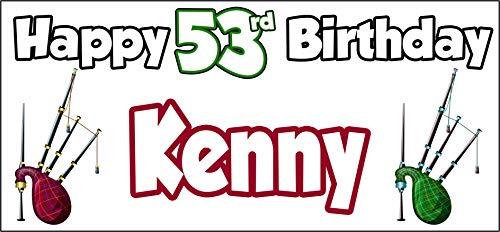 Póster personalizable de Bagpipes Escocia Feliz 53 cumpleaños – Póster – Decoración...