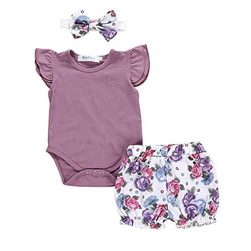 Longra Baby Strampler Baby Kleider Neugeborene Kinder Baby Mädchen Outfits Kleidung Strampler Bodysuit + Flower Print Shorts Set Body Baby Babykleidung günstig kinderkleidung