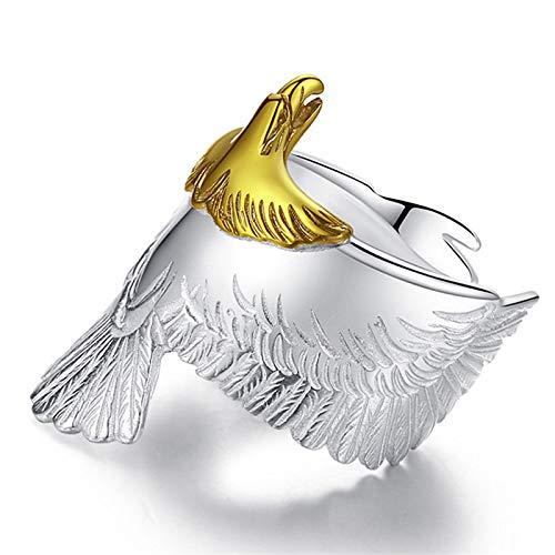 Anillo de águila voladora,Anillo abierto de plata de ley 925 Eagle Hawk,Para regalos de joyería para hombres y mujeres (1PCS)
