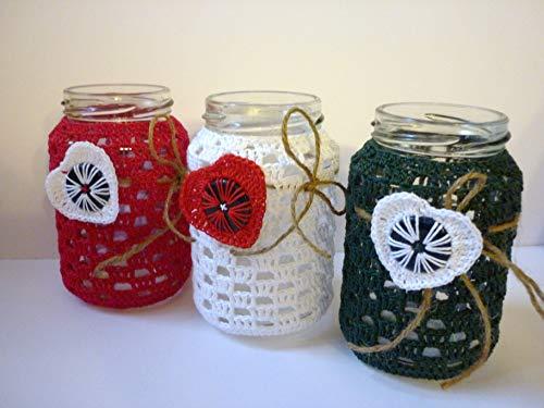 3x Windlichter, Teelichtgläser umhäkelt, weihnachtliche Farben
