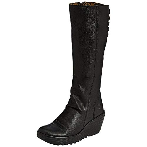 FLY London Womens Yust Casual Winter Wedge Heel Leather Knee High Boots - Black - 8