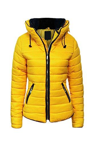 Malaïka ® pour femme matelassé rembourré Doudoune Bubble col en fourrure chaud épais Manteau Veste pour Femme,Jaune,5XL