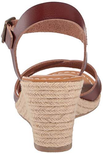 Amazon Essentials Women's Two Piece Wedge Espadrille Sandal, Brown, 9 B US Mississippi