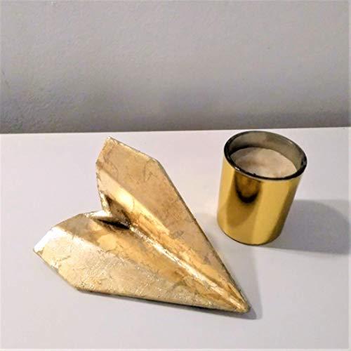 Avión de estilo origami con acabado metal dorado en resina cerámica gris, Barcelona, navidad, regalo, decoración navideña, eventos.