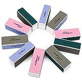 Ahier 10 pcs Nail Buffer, 4 Way Colorful Nail Art Shiner Polisher Buffing Sanding Files Block Manicure Care DIY (Rectangular)