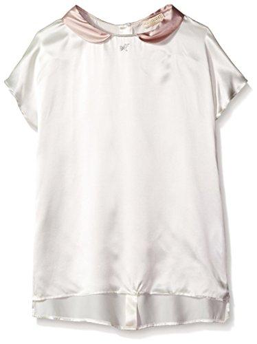 Monnalisa Girls' Big' Peter Pan Collar Top, Pink Ivory, 12
