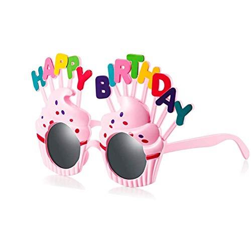 Longsing Alles Gute Zum Geburtstag Sonnenbrille Neuheit Lustige Creme EIS Dekoration Brillen Für Alles Gute Zum Geburtstag Party Photo Booth Requisiten(Rosa)