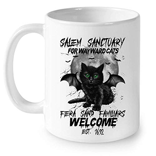 Santuario de Salem para gatos rebeldes Fera Sand Familiars Wecome Est. 1692 gato disfraz de Halloween taza de cermica fresca tazas de caf grficas tazas blancas tapas de t novedad personalizada 11
