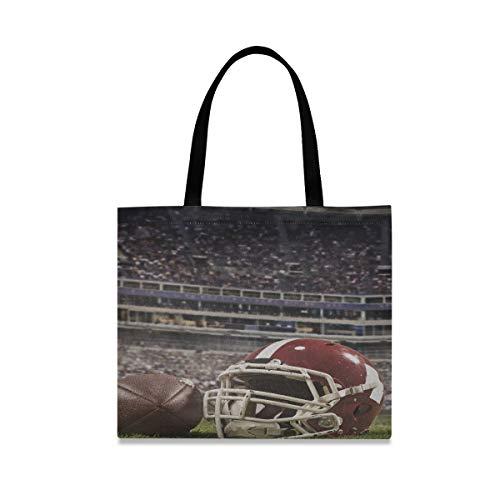 Große quadratische Kapazität Leinwand Geschenktüte Ball American Football Spieler Helm auf Leinwand Tasche für Männer 19,7 x 16,9 Zoll Druck für Mädchen Damen Einkaufen tägliche Arbeit