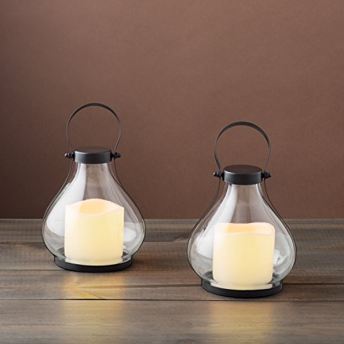 Mini Flameless Candle Lanterns - Battery Operated Decorative Hurricane Set, Black Metal and Glass, 8.5 Inch Height, Flickering LED Light, Indoor/Outdoor - 2 Pack