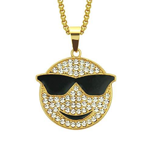 ZWJ Europäische Und Amerikanische Hip-Hop-Schmuck Diamant Smiley Brille Anhänger Halskette