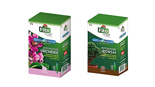 Kit Concime per Orchidee e Bonsai Liquido Goccia a Goccia per Piante| 2 Confezioni con 6 fiale cadauno da 32 ml| Pronto all'Uso, già Diluito| Rafforza Le Difese Naturali delle Orchidee e Bonsai