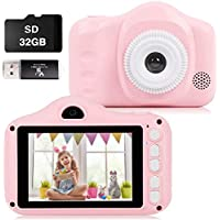 Keepwe ks-1 12MP Full HD 1080p Digital Camera for Kids with 32GB SD Card (Pink)