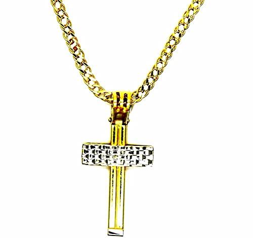 Collar para hombre de oro amarillo de 18 quilates (750), cadena rombo, 50 cm, colgante de cruz bicolor de doble cara