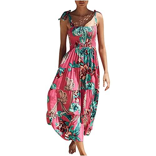 Vestidos de verano para mujer, vestido de mujer, vestido sexy con estampado de flores, sin mangas, cuello cuadrado, floral, vestido largo, casual, vestido de túnica