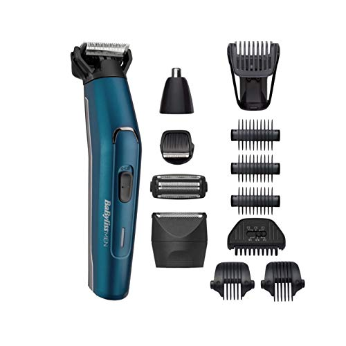 BaByliss MEN MT890E Multikit Uomo Japanese Steel 12 in 1 Lame in Acciaio Giapponese, 120 Minuti di Autonomia, 100% Waterproof, Batteria al Litio