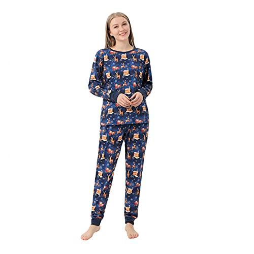FeelFree+ Pijamas Familias Conjuntos de Navidad para Hombre Mujer Niños Niña Bebe Regalo Estampado de Santa Claus Tops y Pantalones Invierno Divertido Ropa de Dormir Camisón Casual Homewear