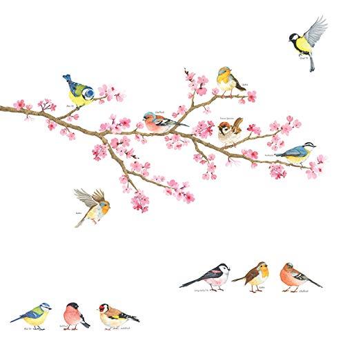 DECOWALL DA-1904 Kirschblüte & Gartenvögel Wandtattoo Wandsticker Wandaufkleber Wanddeko für Wohnzimmer Schlafzimmer Kinderzimmer