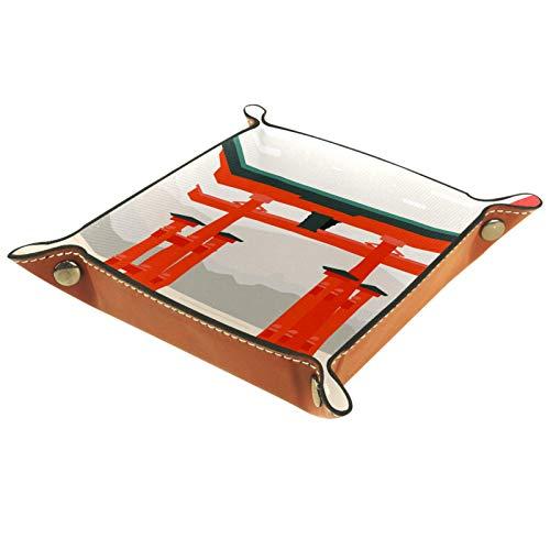 HOHOHAHA Bandeja plegable de piel sintética para dados, soporte de dados para D&D, RPG, juegos de mesa o almacenamiento de llaves de teléfono de escritorio, vintage Japón Torii Bamboo Sunset