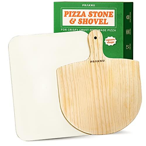 Pietra Refrattaria Rettangolare e Pala per Pizza in Legno - Pietra da 38 x 30 cm per Forno e Barbecue - Per Pizze Croccanti