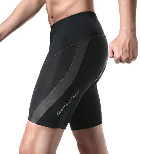 Santic Cycling Men's Shorts 4D Padded Bicycle Riding Pants Bike Shorts Quick-Dry Half Pants (Black-H087, Medium)
