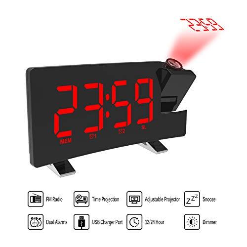 Donpow projectiewekker, wekker, dual wekker, 4 dimmer, digitale klok met USB-oplader, eenvoudig te bedienen, grote cijfers, felrood, gebogen display, groen ???? Netto