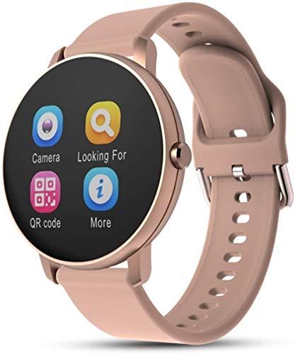 AMBM Reloj inteligente Bluetooth impermeable para sueño, monitor de actividad física, pantalla táctil LCD, reloj deportivo, relojes inteligentes con Bluetooth, color gris plateado, rosa