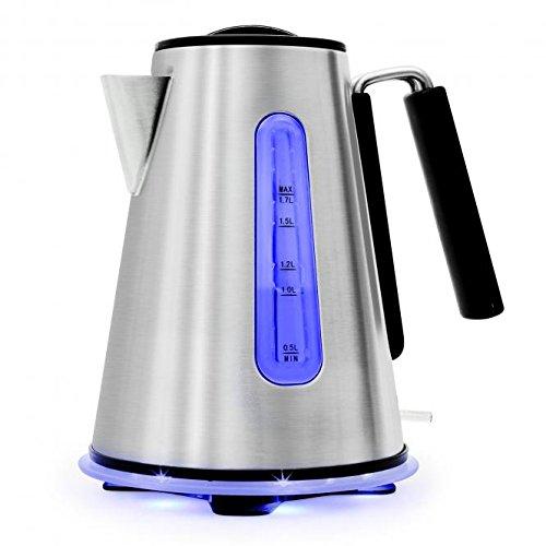 Klarstein Aquavera Wasserkocher Teekocher (2200 Watt, 1,7 Liter, rostfreier Edelstahl, Cool-Touch-Griff) silber