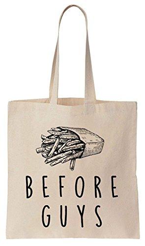 Fries Before Guys Design Tote Bag Baumwoll Segeltuch Einkaufstasche