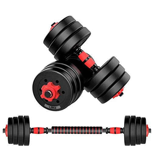 MOJEER ダンベル 可変式【最新進化版・3in1】10kg 20kg 30kg 40kg 2個セット バーベルにもなる ダンベル 無臭素材 静音 (10kg×2個セット/ 赤)