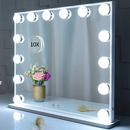 Specchietto da toilette illuminato con lampadine a 14 Led Sostituibile, specchio da trucco in stile hollywood Specchi da cosmesi con design Touch Control, specchi da tavolo o da appoggio,BIANCA