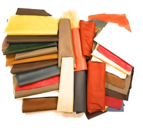 Leather Scraps Premium Upholstery Cow Hide Leather (2) Lbs Big Sizes for All Crafting Projects