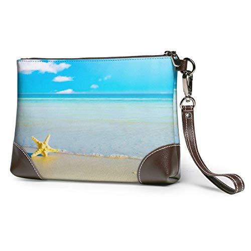 baowen StarFish On Beach bolso de mano de cuero para mujer bolso de mano grande cuadrado bolso de mano con correa elegante y duradero