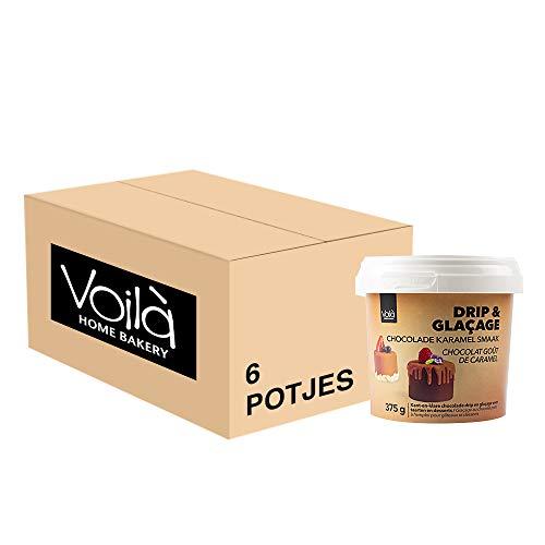 Voila Drip & Glacage Chocolade Karamel kant-en-klare Chocolade Drip en Glacage voor Taarten en Desserts – Set van 6x 375…