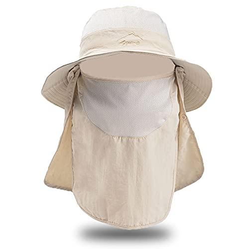 ZH1 Sombrero De Pesca para Hombres para Hombres, Sombrero De Sol De ala Ancha con Cuello De Refrigeración Juego De Gaiteros, Sombrero De Jardinería Sombrero De Playa Transpirable con Colgajo,Beige