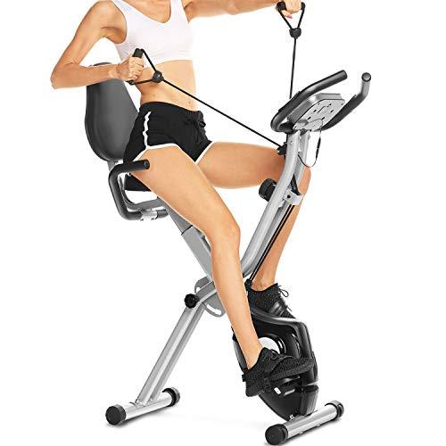 3-in-1 Heimtrainer Fahrrad mit Rückenlehne,klappbarer Heimtrainer mit App Anbindung,LCD-Display,10 verstellbare Widerstandsstufen und Herzmonitor - Perfektes Heimtrainingsgerät für Cardio
